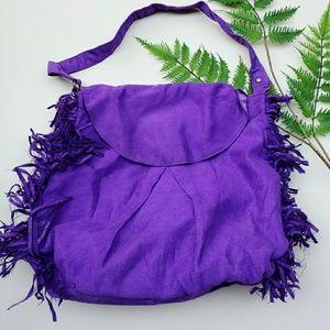 Handbags - Purple vegan faux suede fringe boho bag